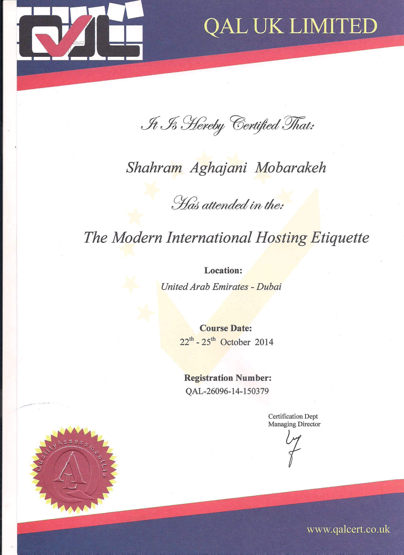 گواهینامه Modern International Hosting Etiquette